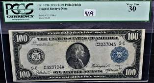 PCGS VF30 $100 FED. RESERVE NOTE LARGE SIZE