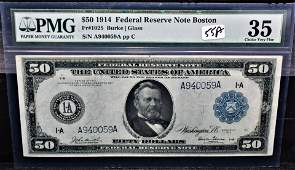 PMG CHOICE VF35 $50 BLUE SEAL FED RESERVE NOTE