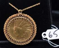 14K YELLOW GOLD TEN DOLLAR GOLD COIN PENDANT