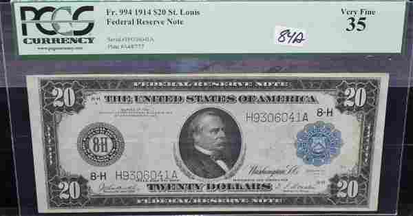 PCGS VF35 $20 FEDERAL RESERVE NOTE SERIES 1914