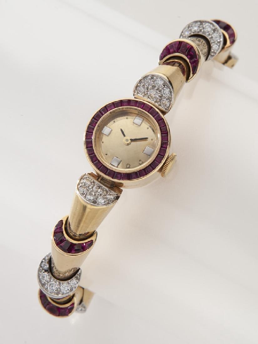 Retro Oscar Heyman plat, 18K, diamond & ruby watch
