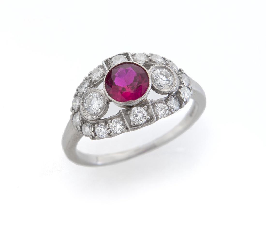 Edwardian platinum, ruby and diamond ring