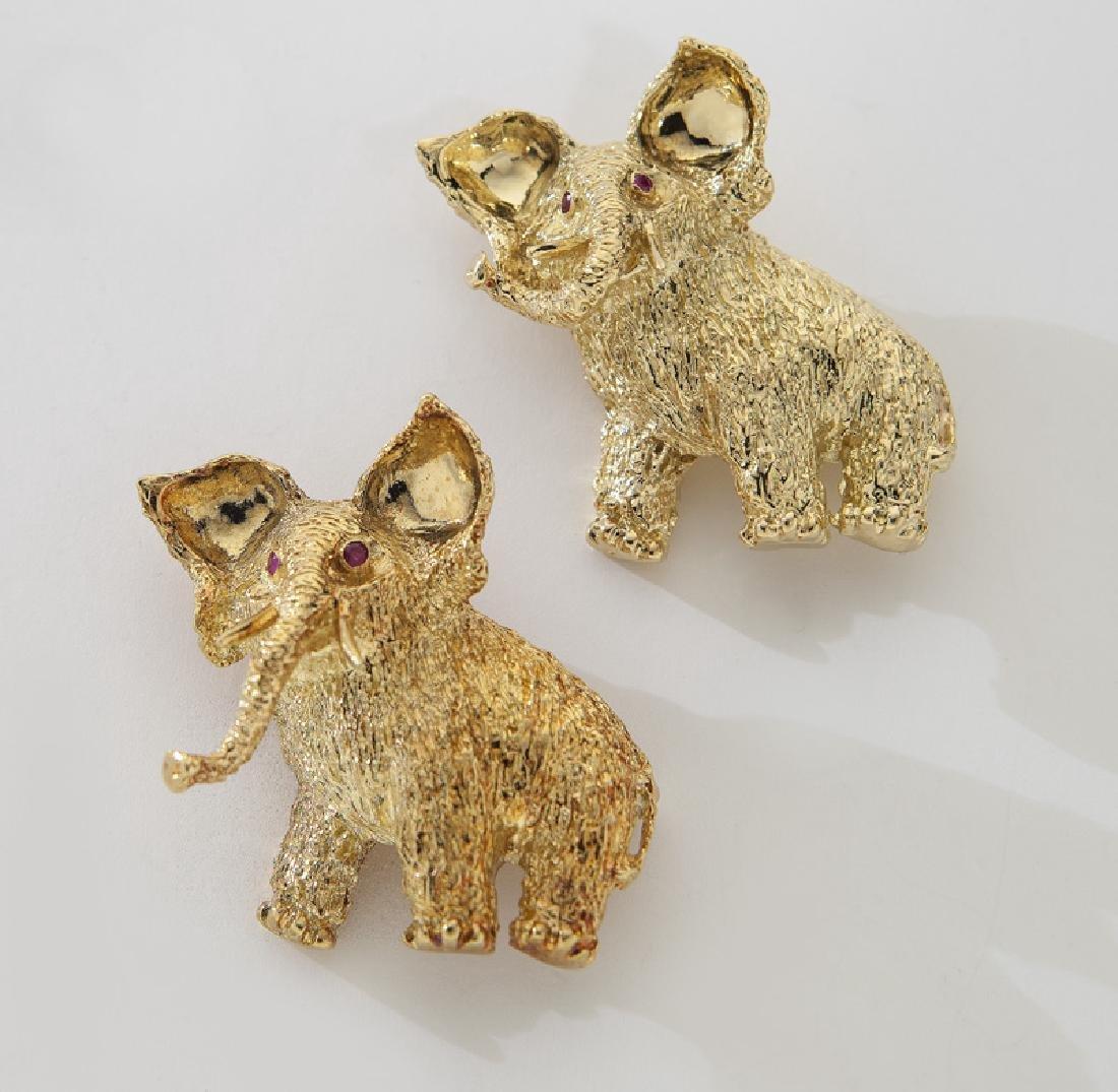 (2) Tiffany & Co. 18K gold and ruby elephant