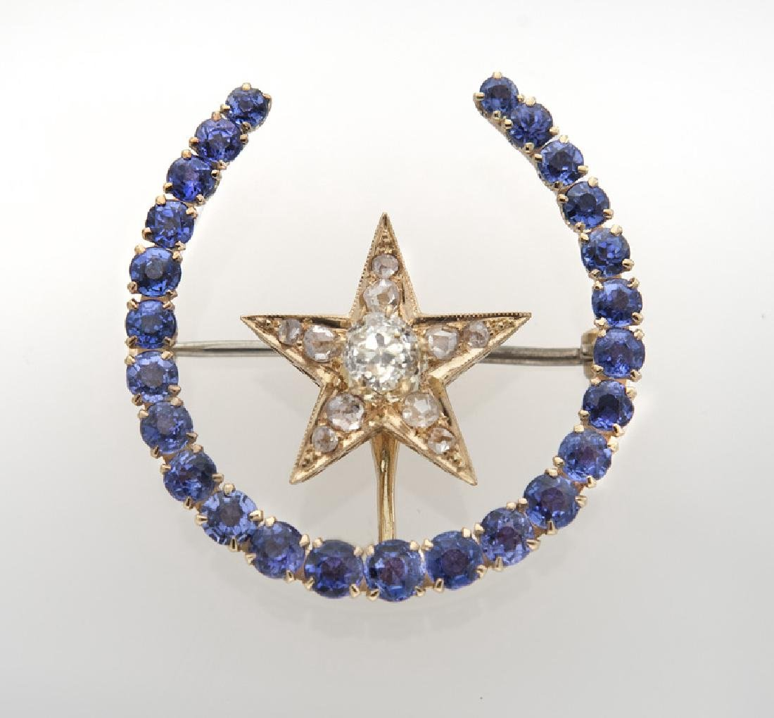 Edwardian 14K gold, diamond and sapphire brooch