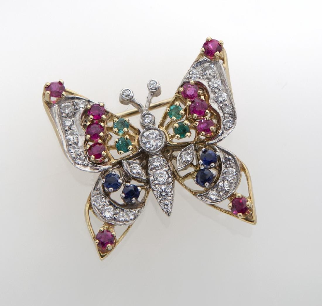18K gold, diamond, sapphire, emerald and ruby