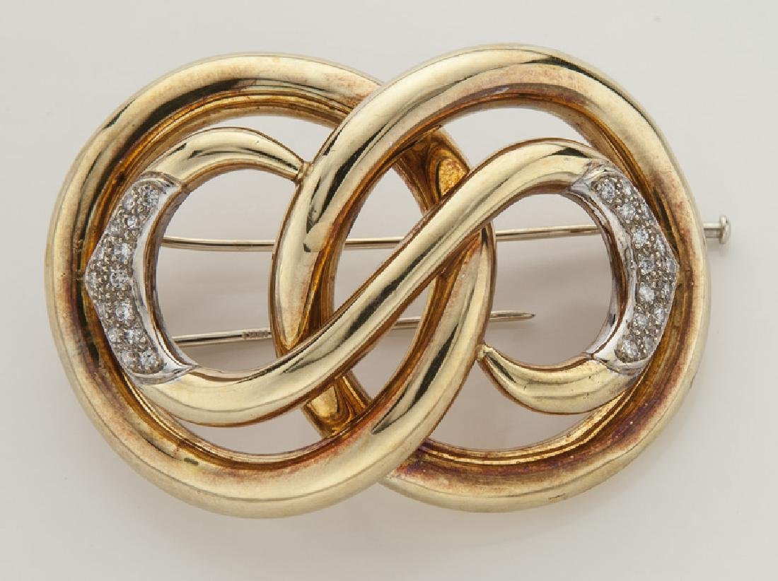 Retro 18K gold and diamond brooch