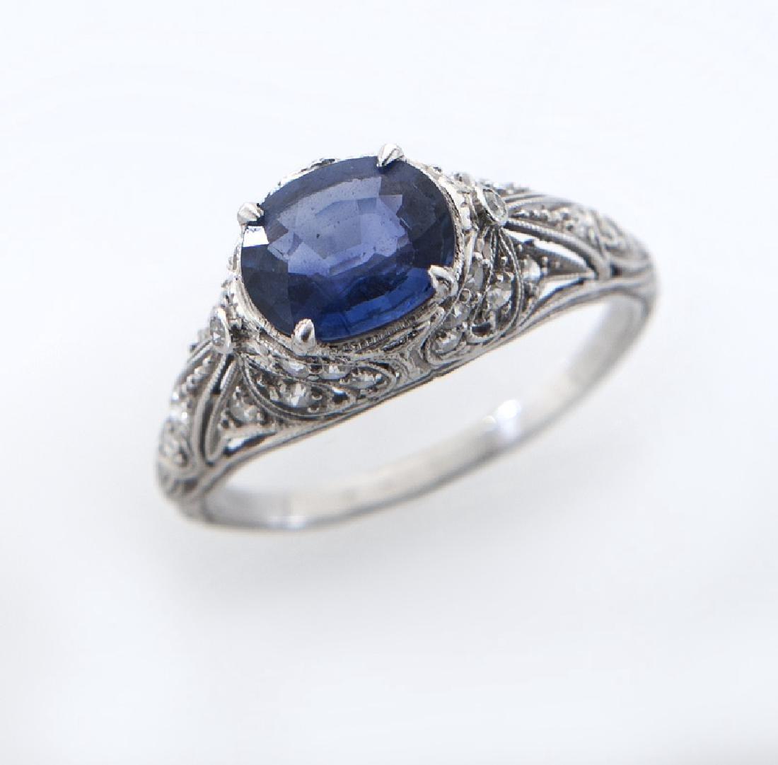 Belle Époque platinum, sapphire and diamond ring