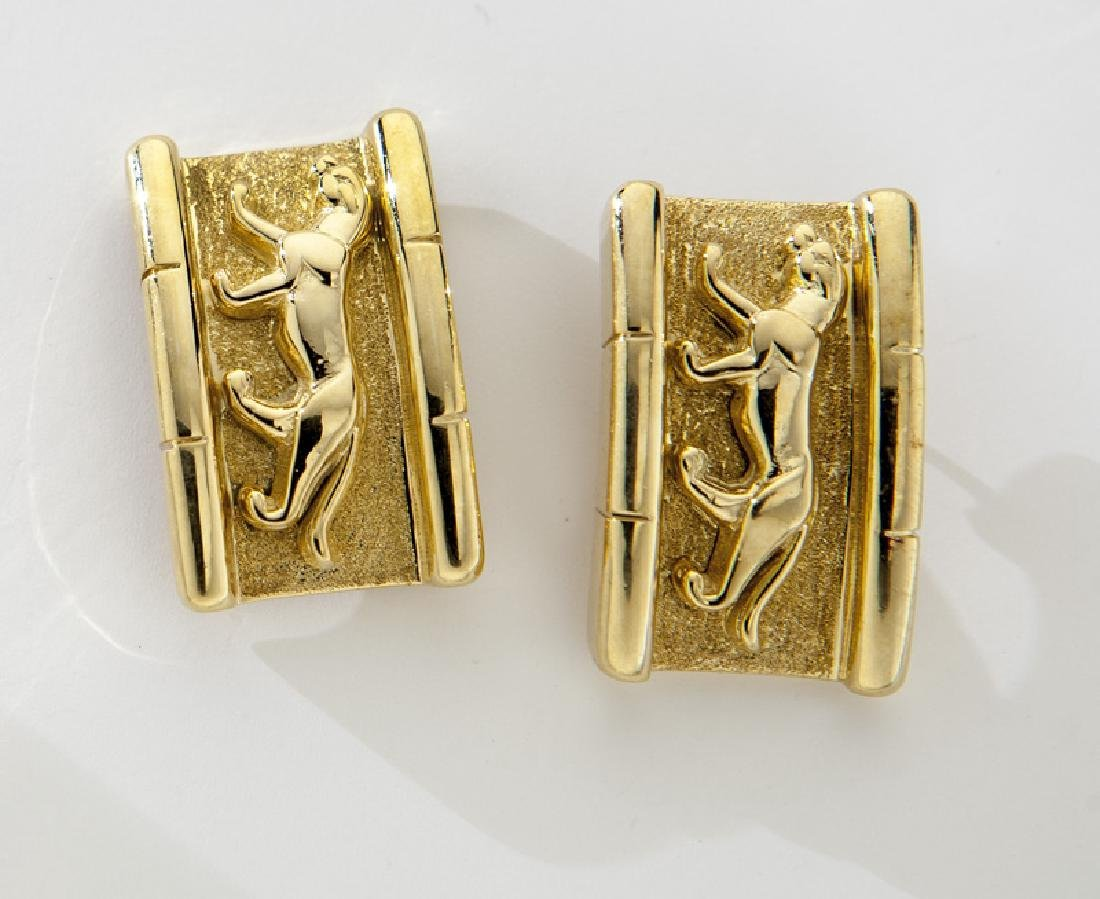 Pair 18K yellow gold earrings with panther reliefs