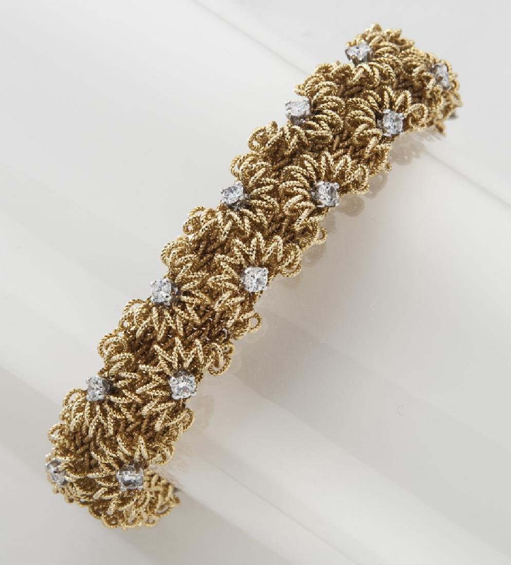 Retro French 18K gold and diamond bracelet