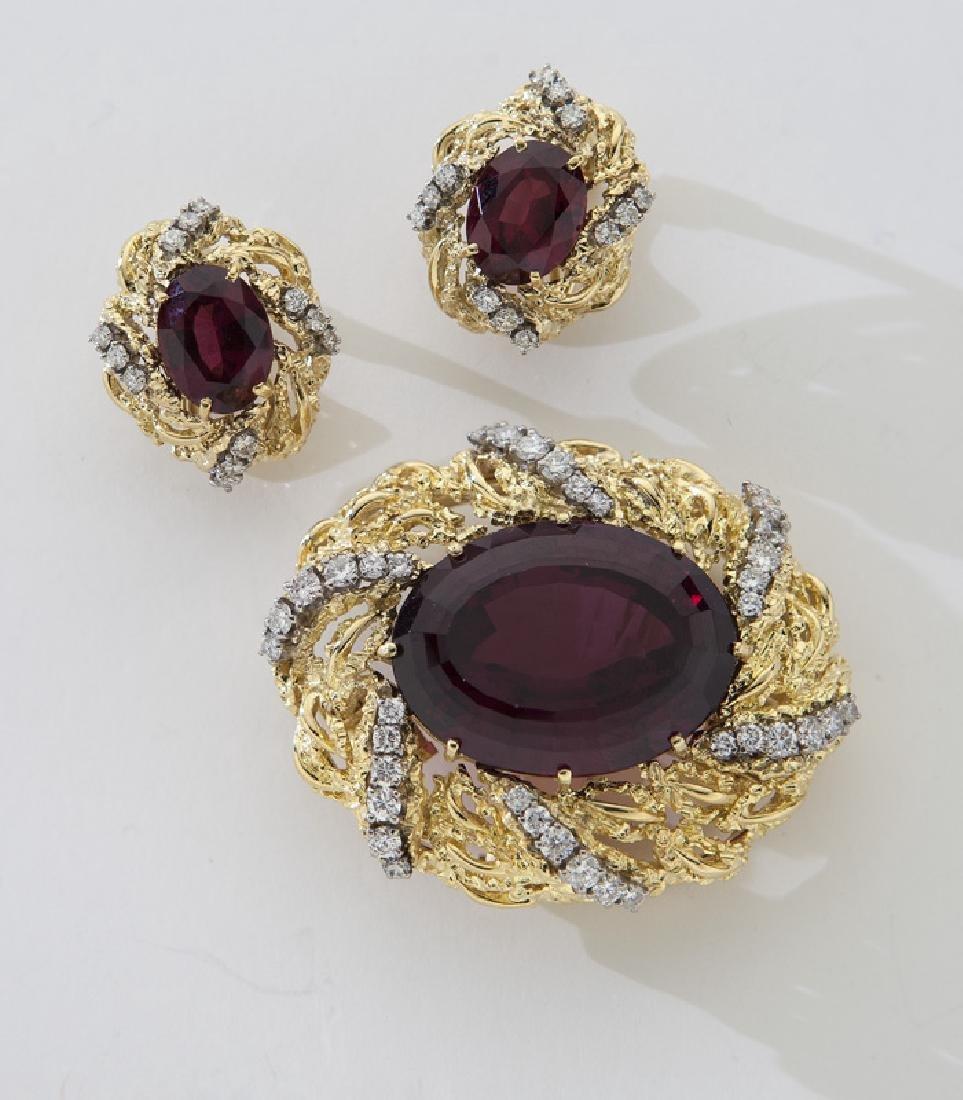 2 Pcs. 18K, diamond and rhodolite garnet jewelry,