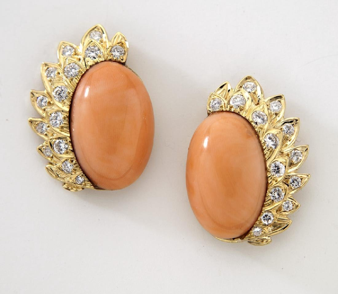 Pair 18K gold, diamond and coral earrings,