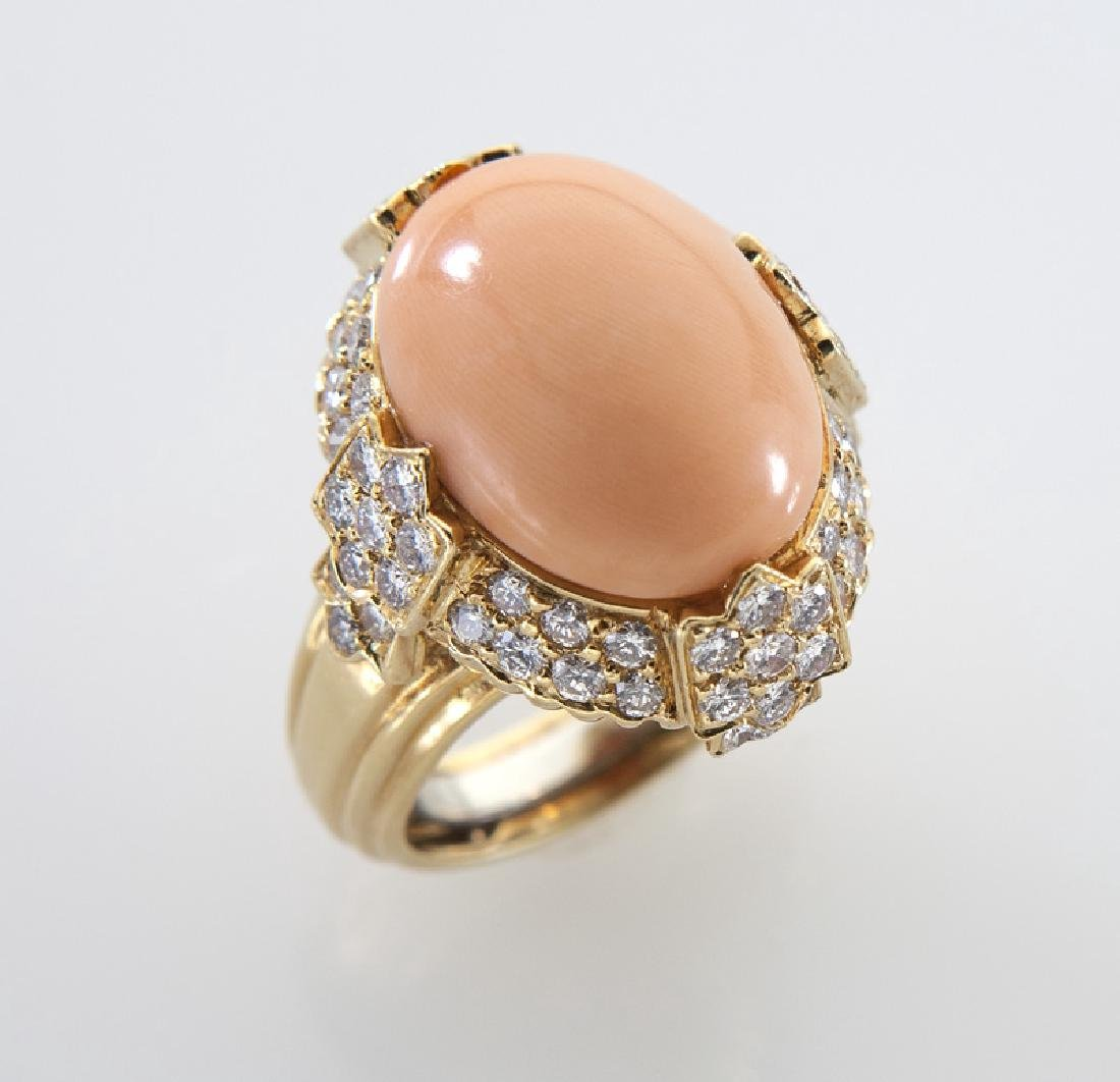 18K gold, diamond and coral ring