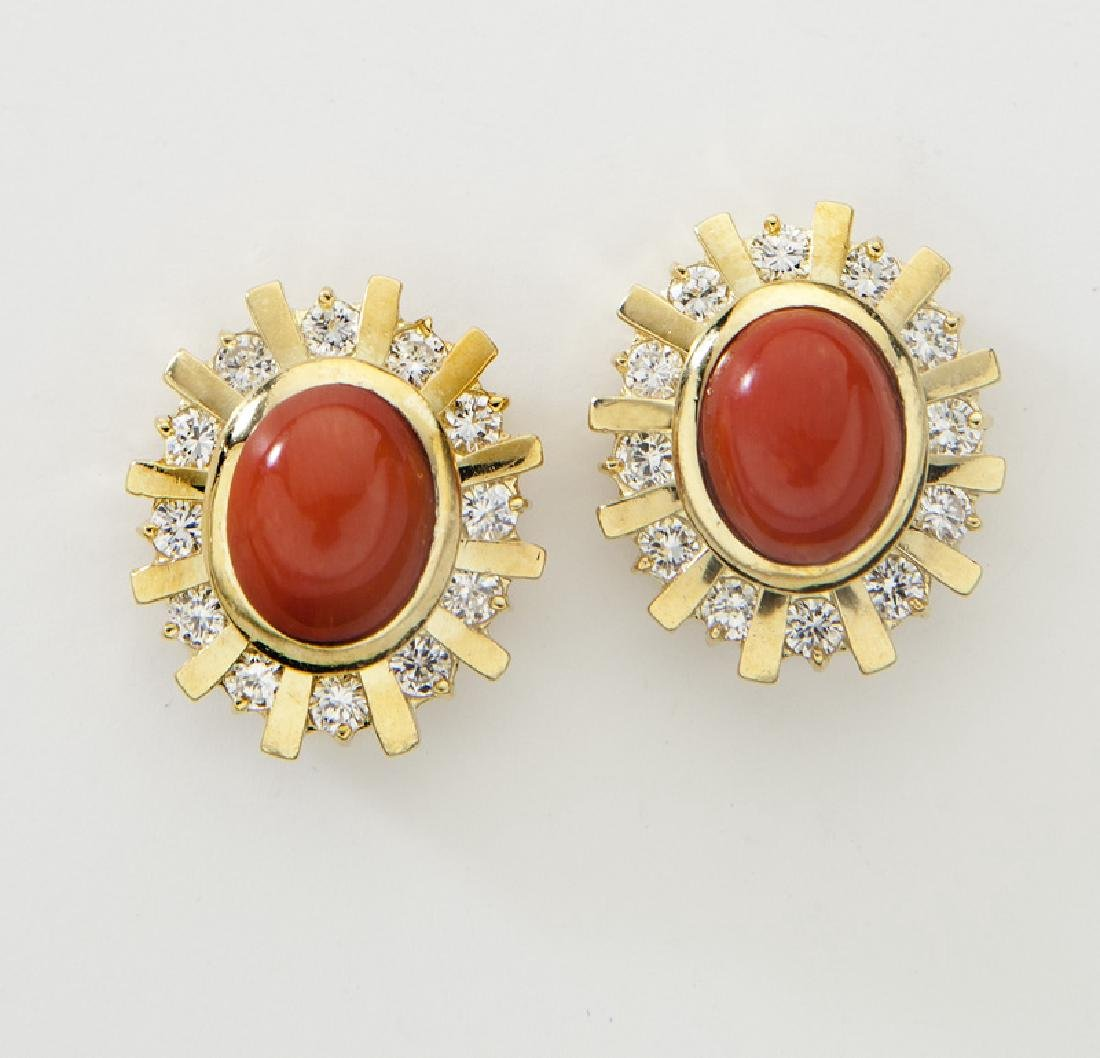Pair 18K gold, oxblood coral and diamond earrings