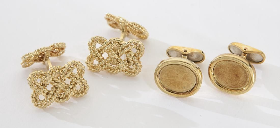 2 Pairs 18K yellow gold cufflinks, including: