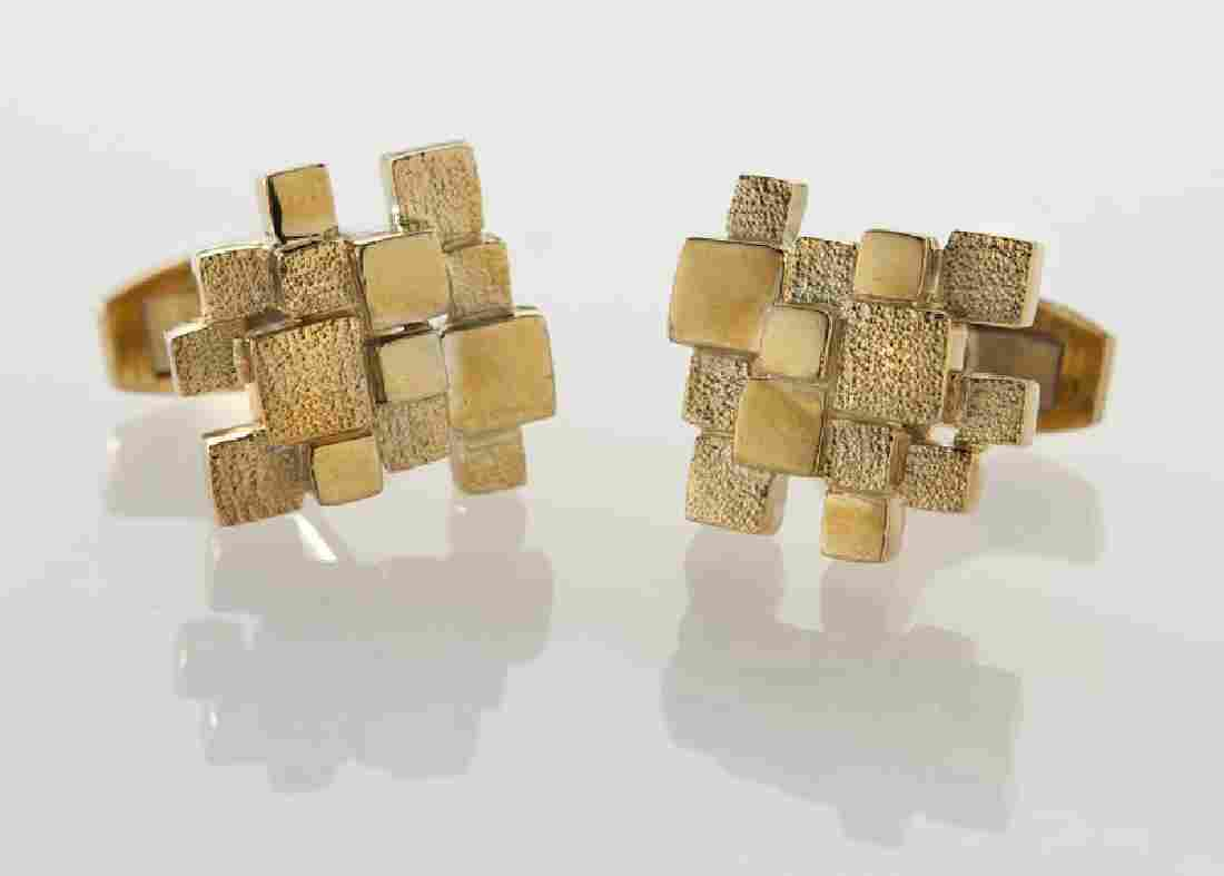 Pair Henry Dunay 18K gold cufflinks