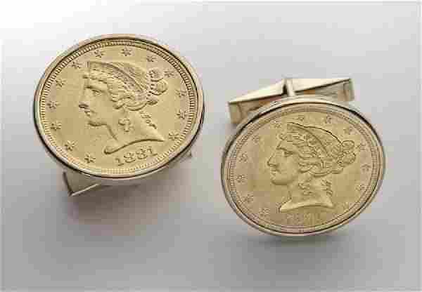 Pair 22K Liberty $5.00 gold coin cufflinks,