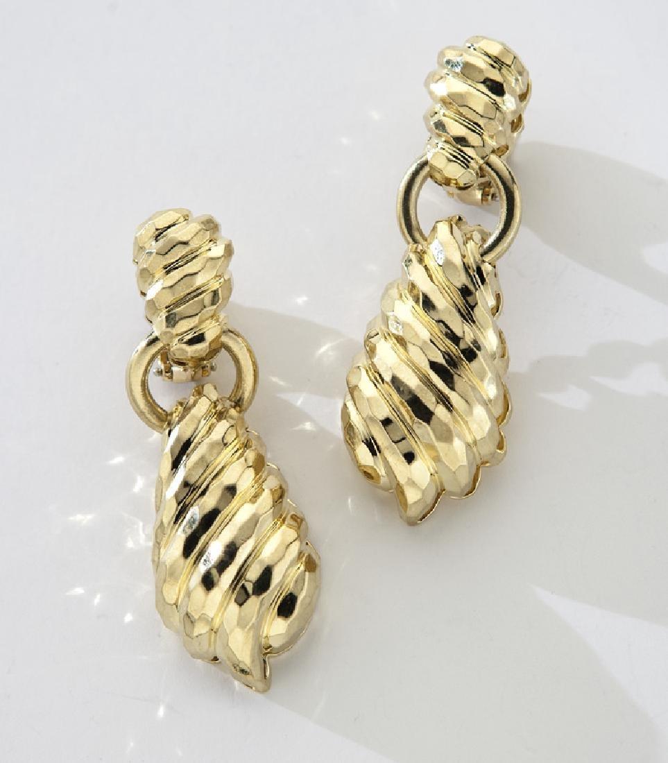 Pr. Henry Dunay 18K faceted door-knocker earrings