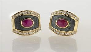 De Vroomen 18K gold, diamond, ruby and enamel
