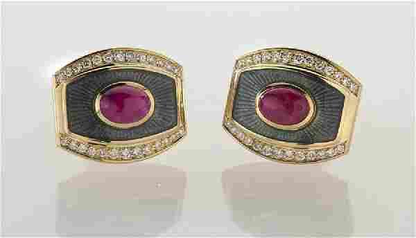 De Vroomen 18K gold, diamond, ruby and enamel