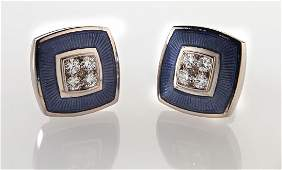 De Vroomen 18K gold, enamel and diamond cufflinks.