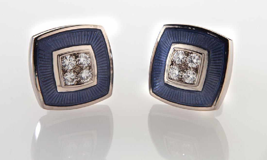 De Vroomen 18K gold, enamel and diamond cufflinks.