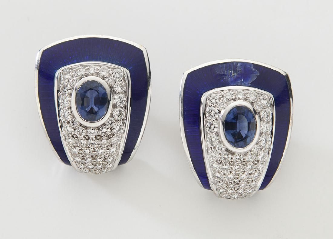 Pair De Vroomen 18K gold, sapphire, diamond and