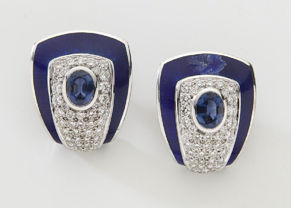 Pair De Vroomen 18K gold, sapphire, diamond and