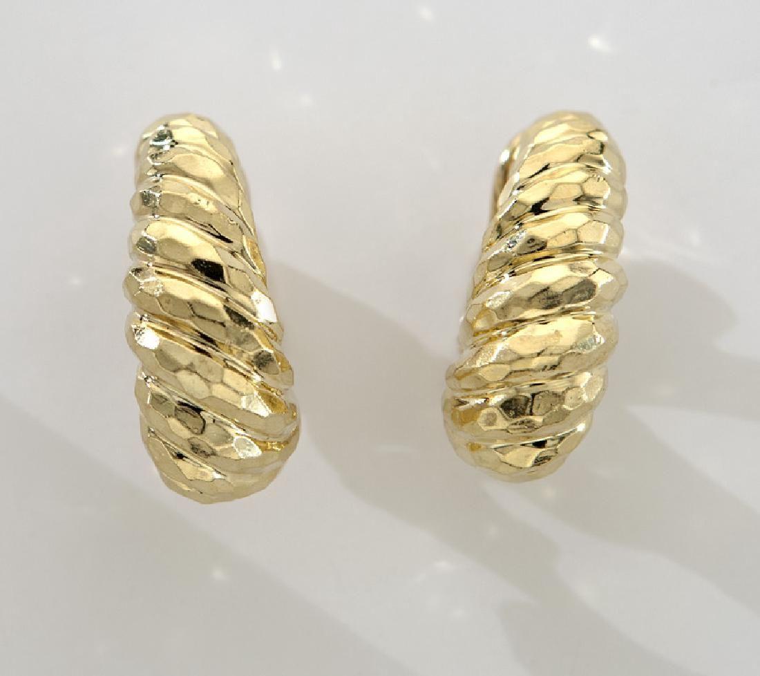 Pair Henry Dunay 18K faceted gold earrings