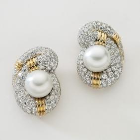 Pair 18K, plat., diamond and Akoya pearl earrings