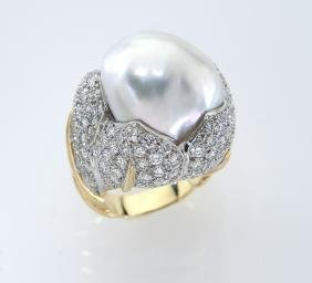 18K gold, platinum, mabe pearl and diamond ring