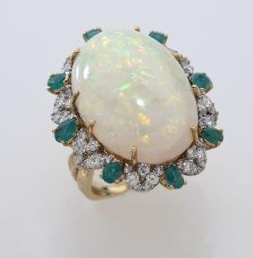 18K gold, diamond, emerald and opal ring