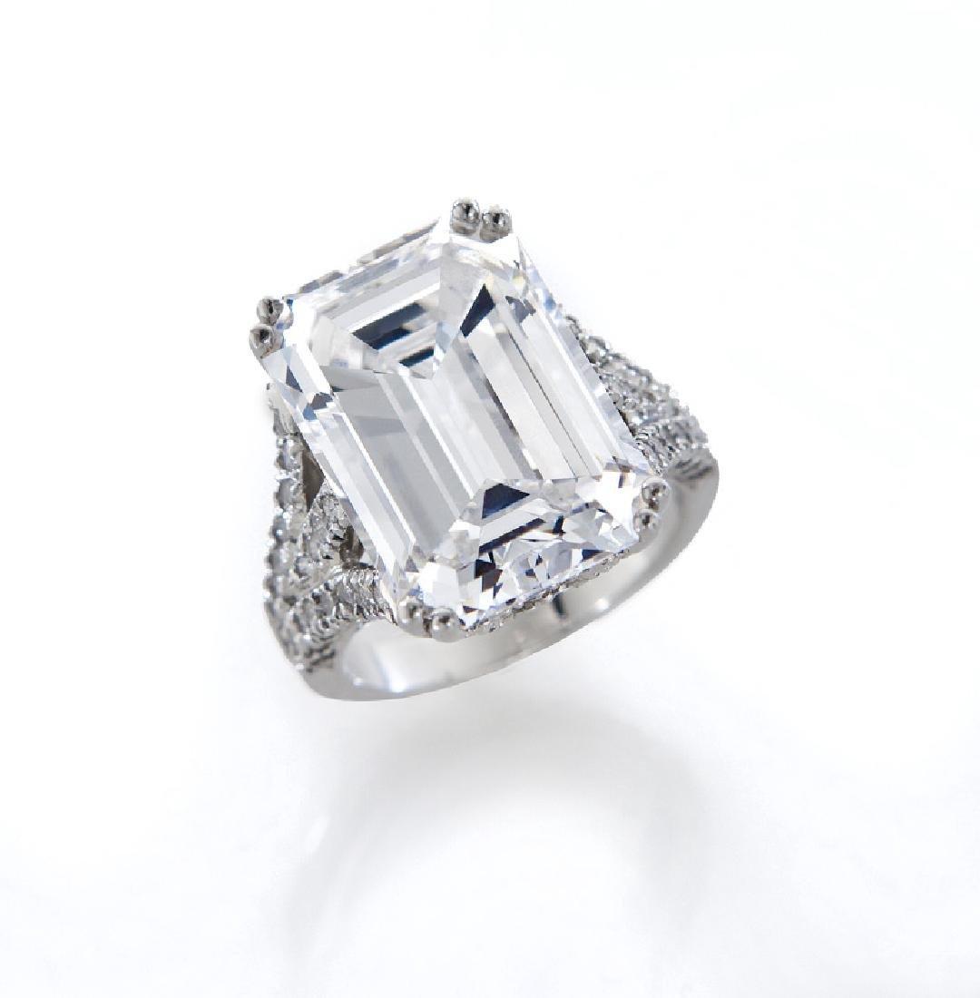 Important platinum & 15.71 ct. (GIA) diamond ring