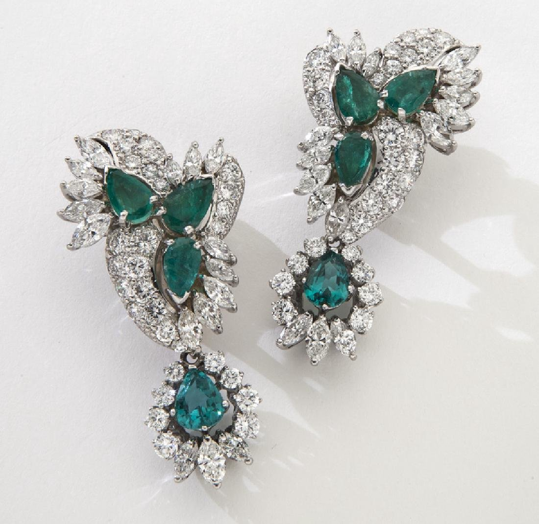 Pair 18K gold, emerald and diamond earrings