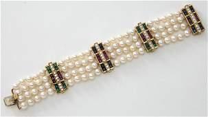 Julius Cohen 18K gold diamond sapphire emerald