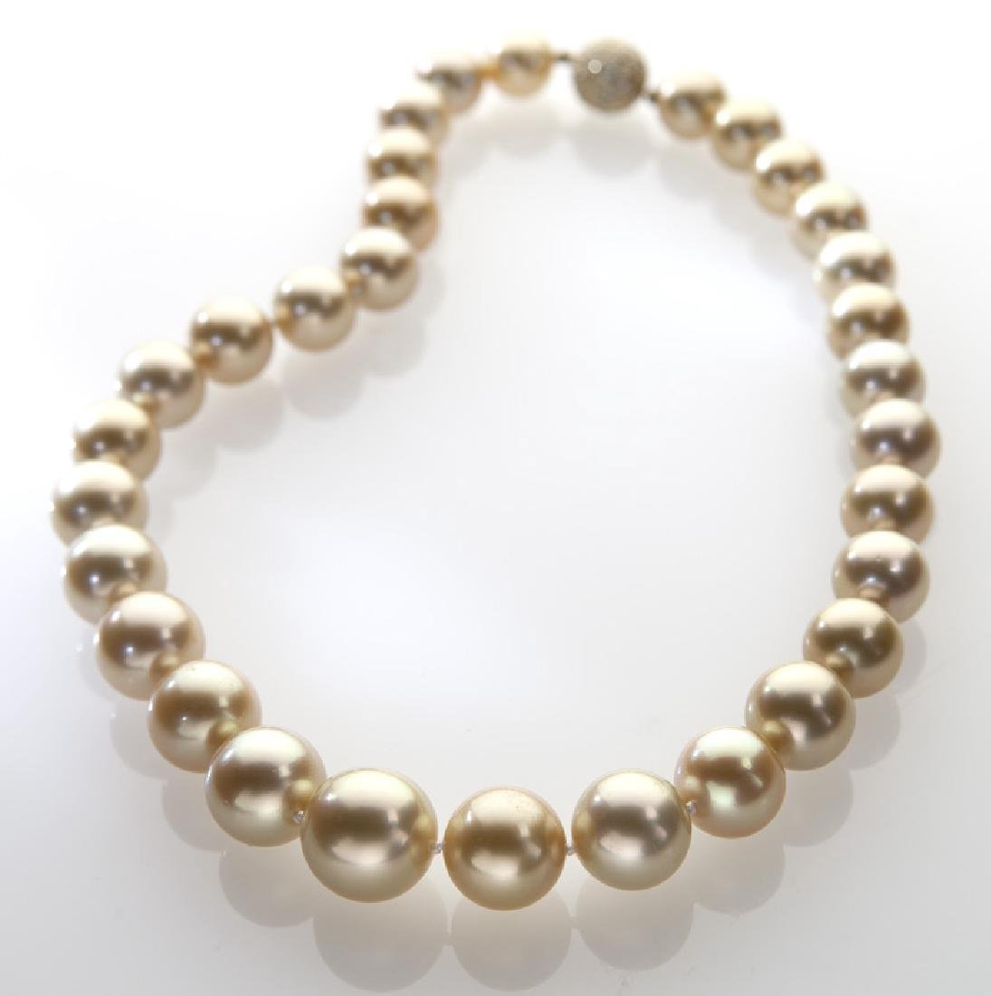 18K, diamond and golden South Sea pearl necklace