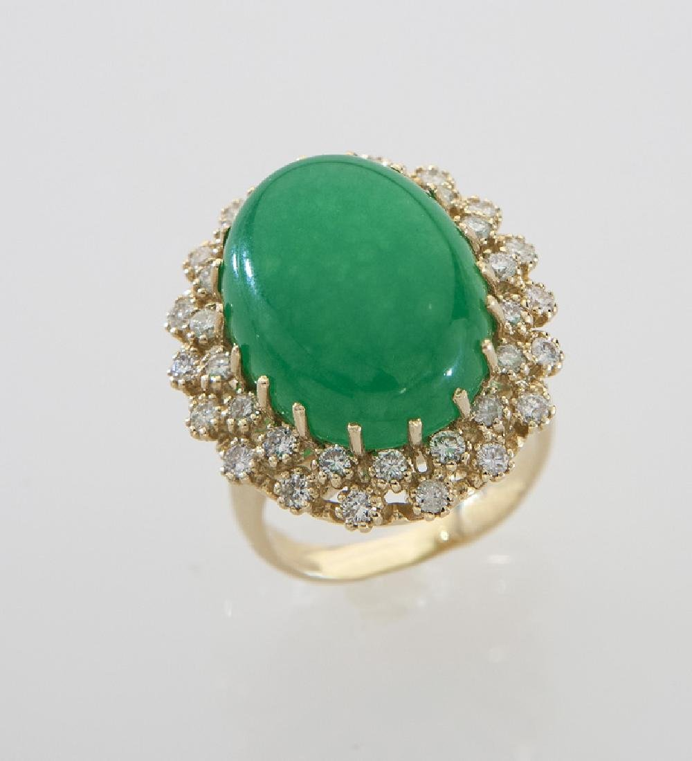 14K gold, diamond and jadeite jade ring
