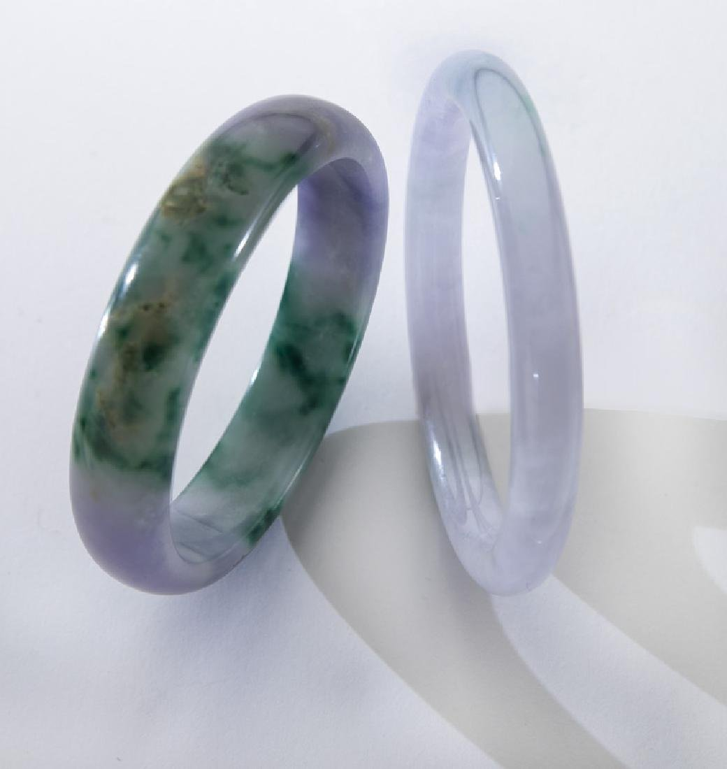 (2) Jadeite jade bangle bracelets including:
