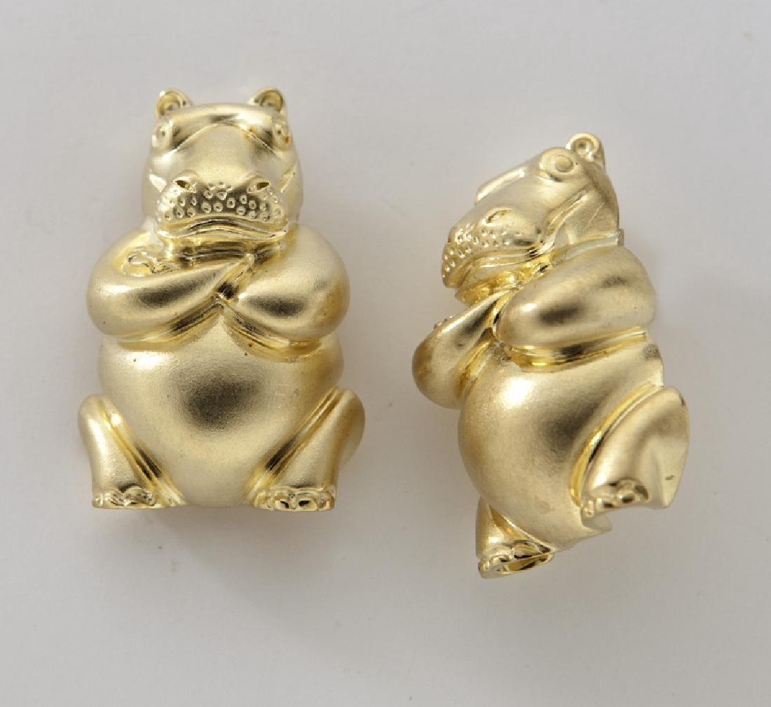 Pair Henry Dunay 18K yellow gold hippo earrings