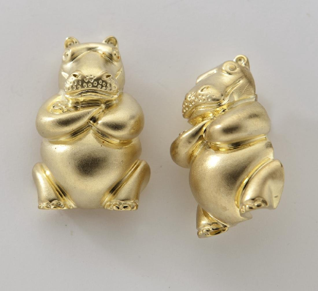 Pair Henry Dunay 18K yellow gold hippo earrings