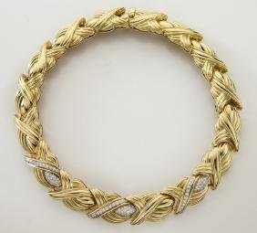 18K yellow gold and diamond link necklace.