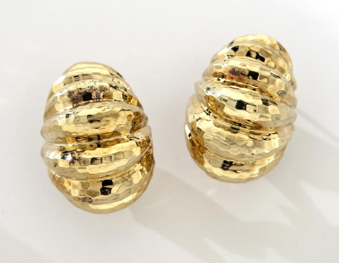 Pair Henry Dunay 18K faceted gold earrings