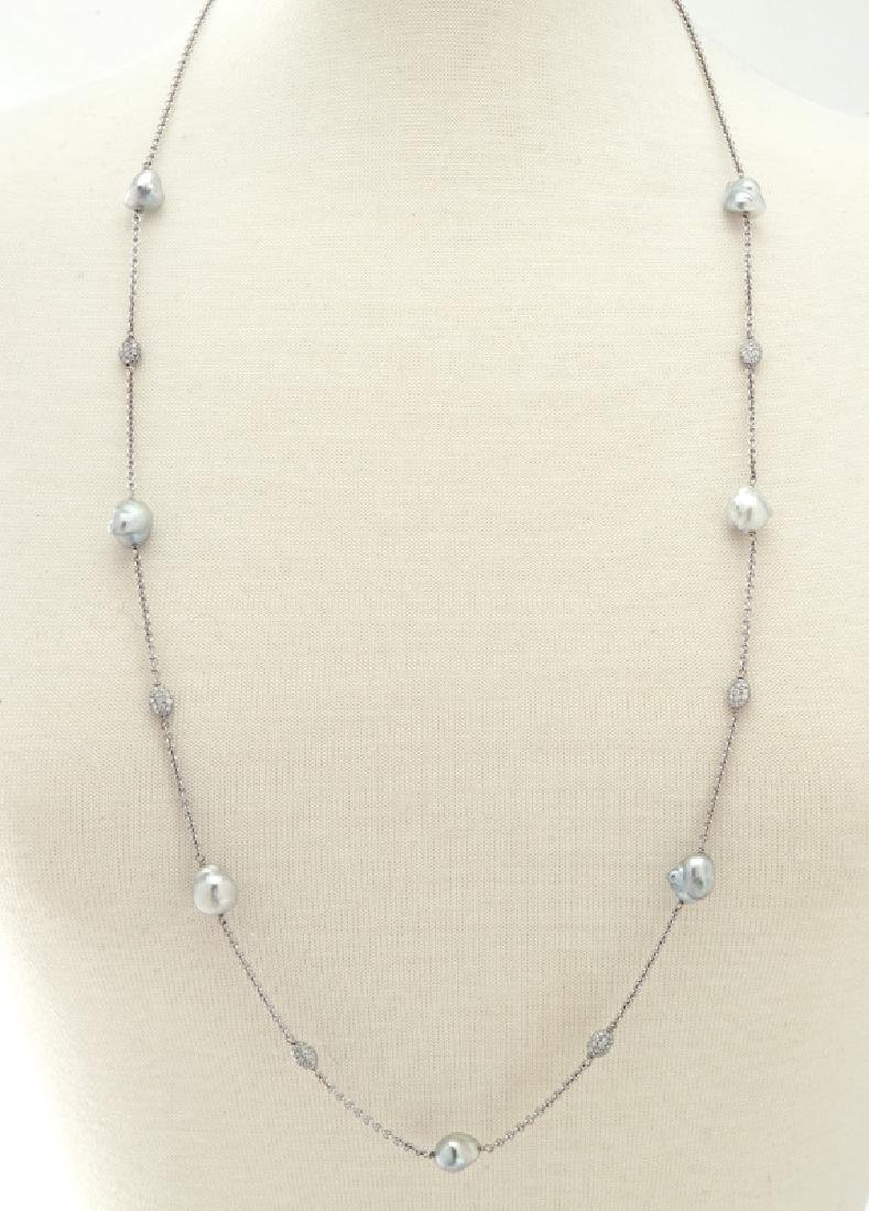 18K gold, pearl and diamond necklace