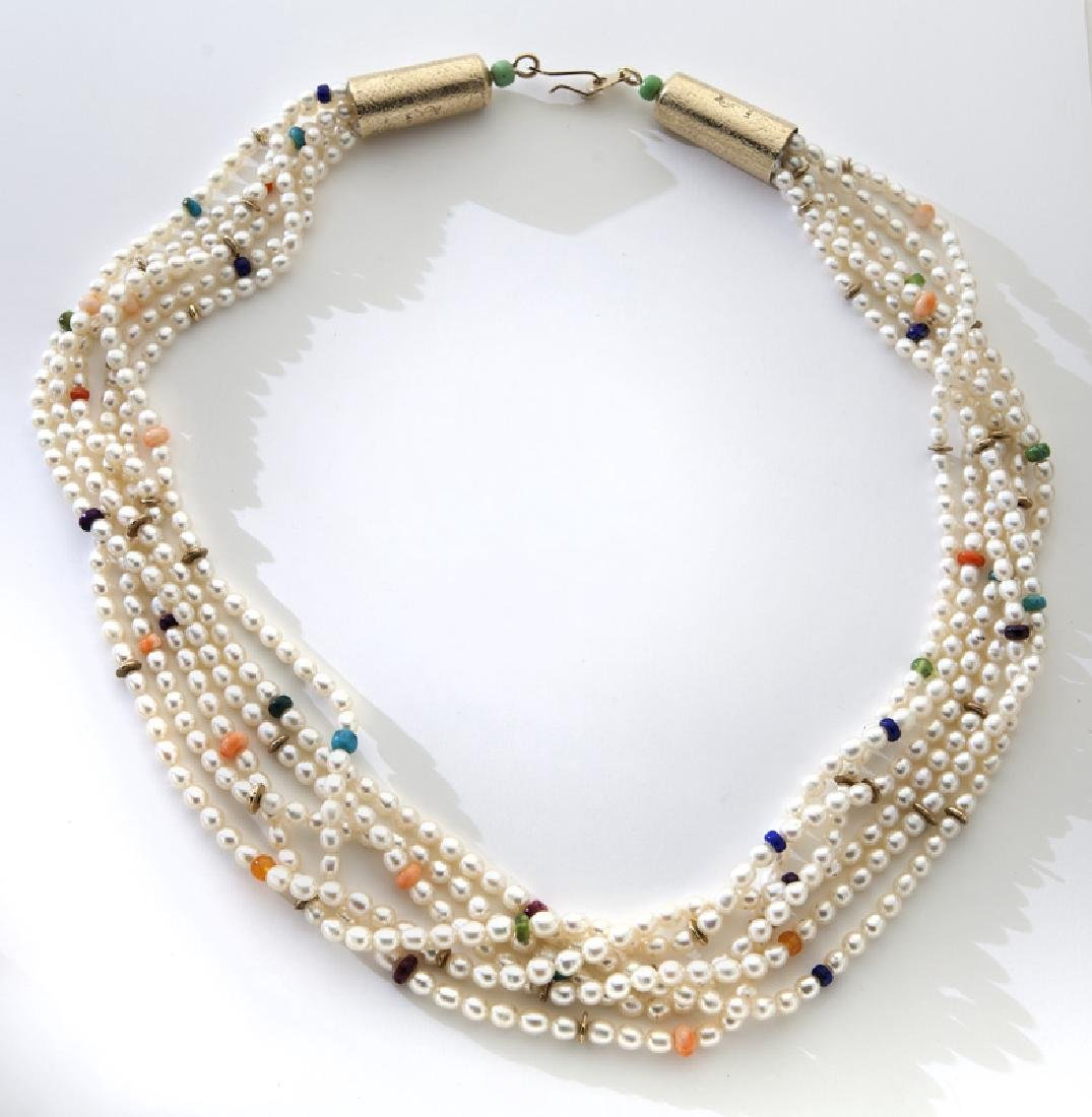14K gold six-strand cultured pearl necklace,