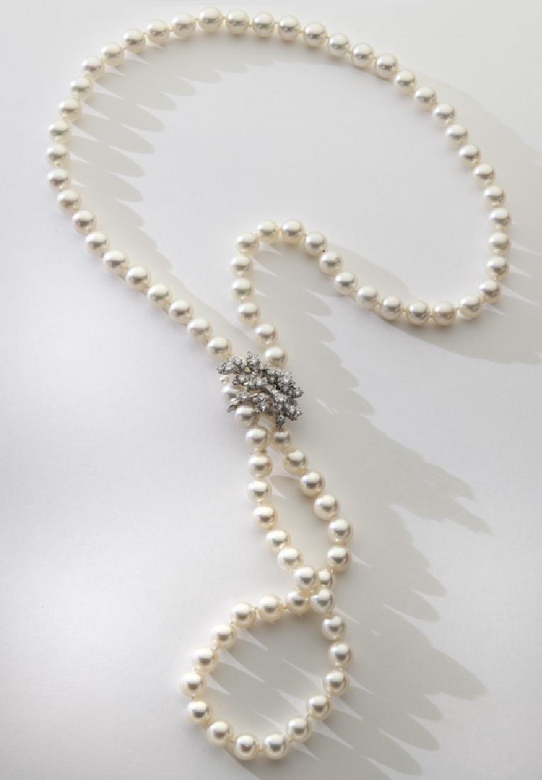 Kurt Wayne 14K gold, diamond and pearl necklace,