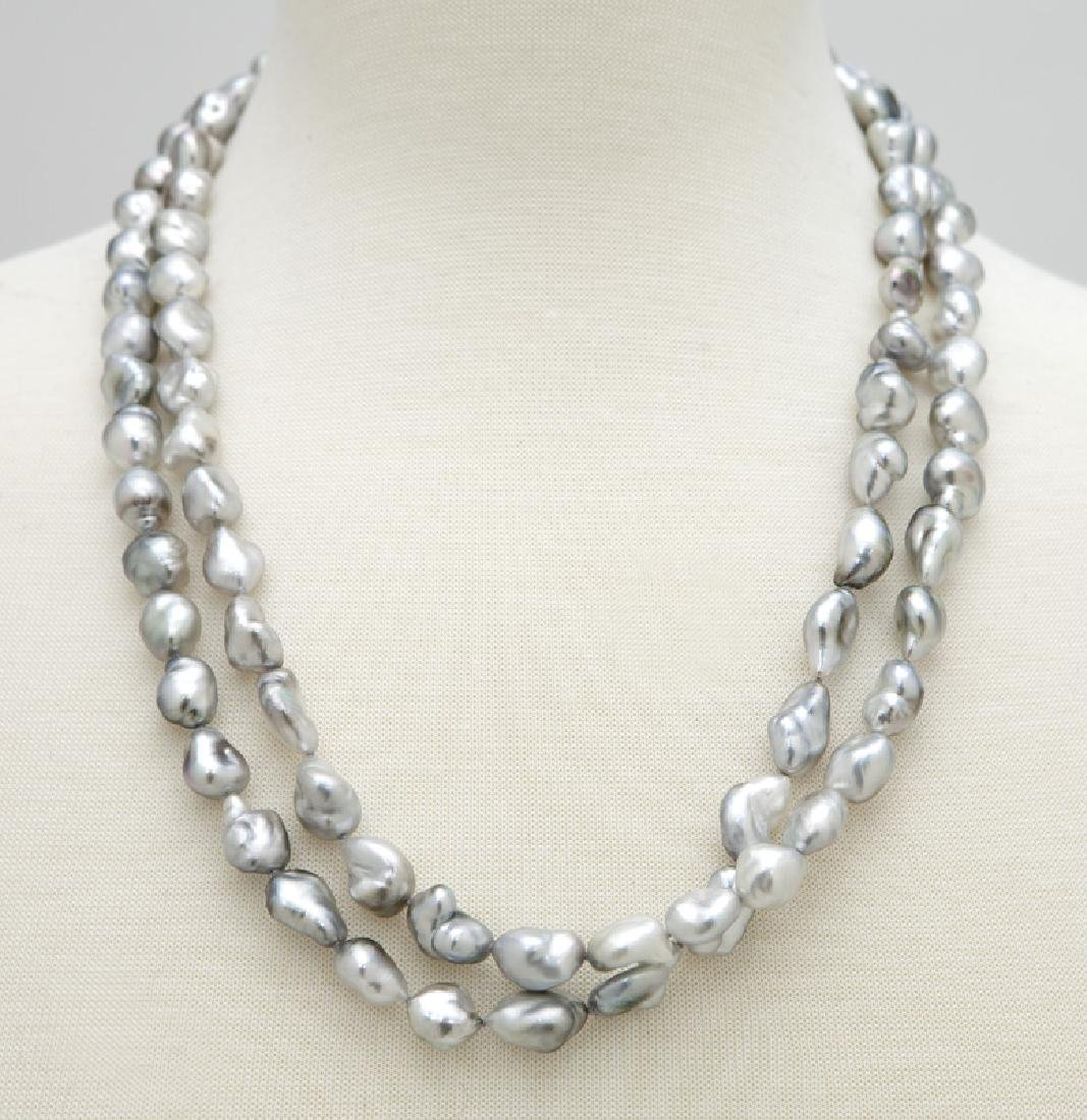 18K gold, diamond and keshi pearl necklace