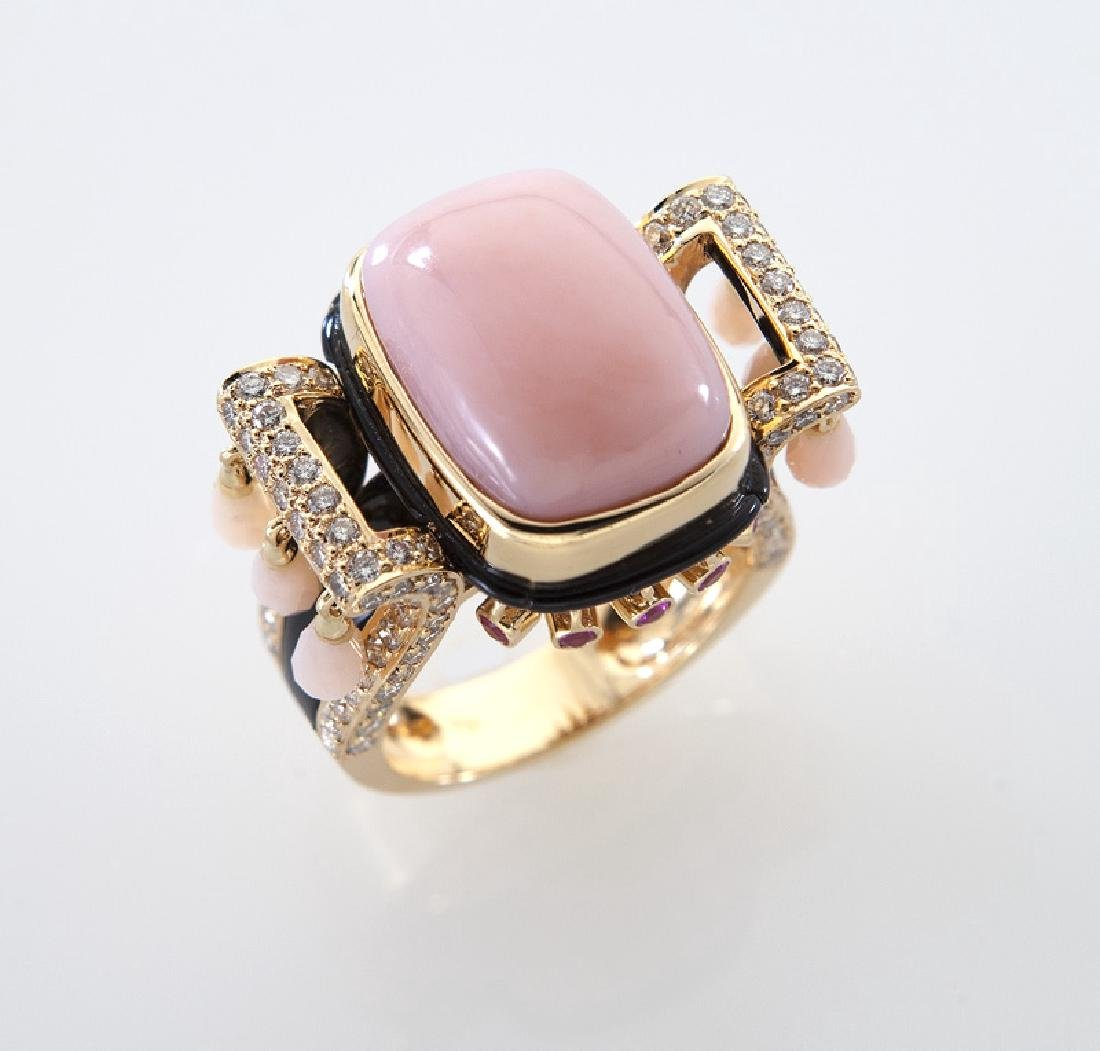 18K gold, diamond, onyx, calcite and ruby ring