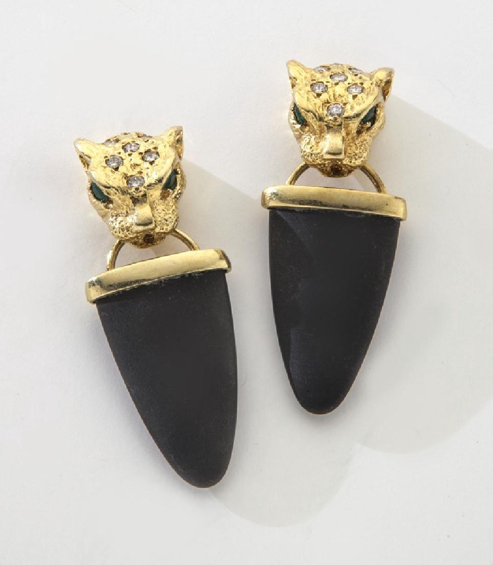 Pair 18K gold, diamond and emerald earrings