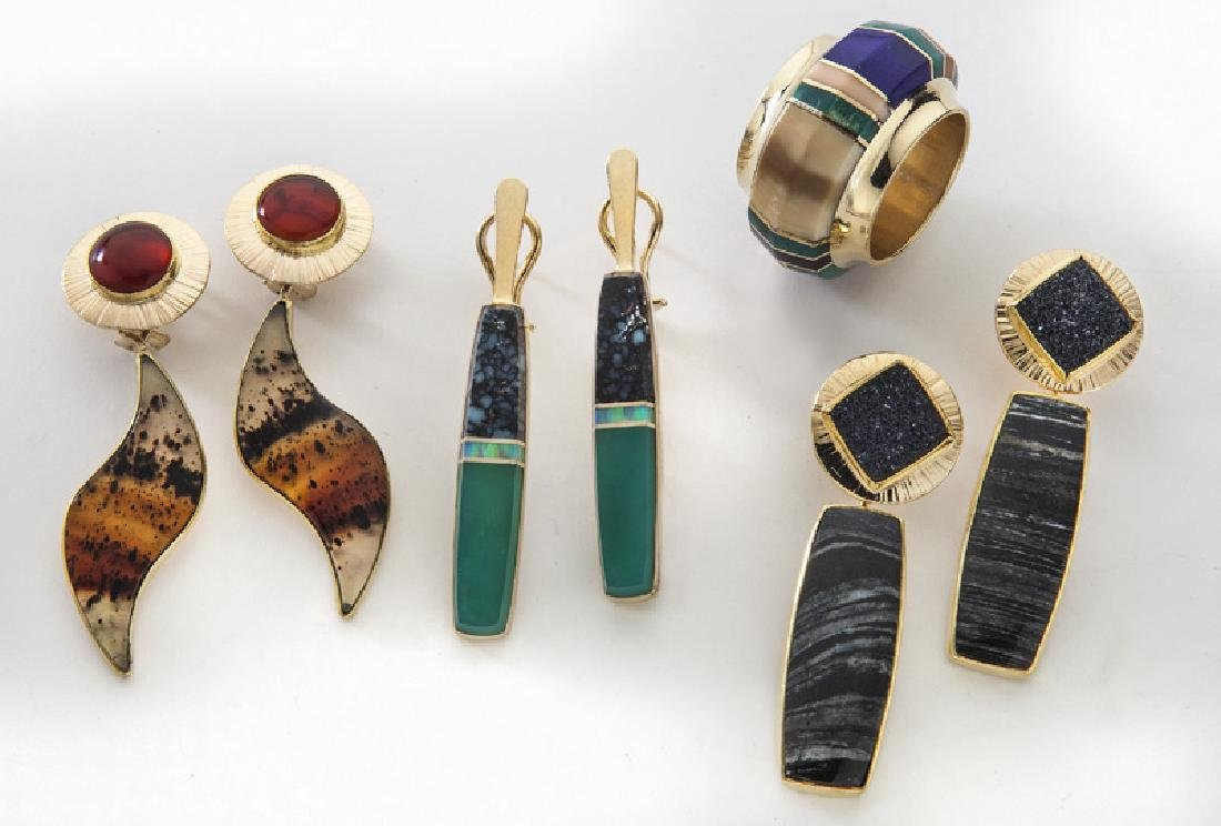 4 Pcs. contemporary 14K gold jewelry,