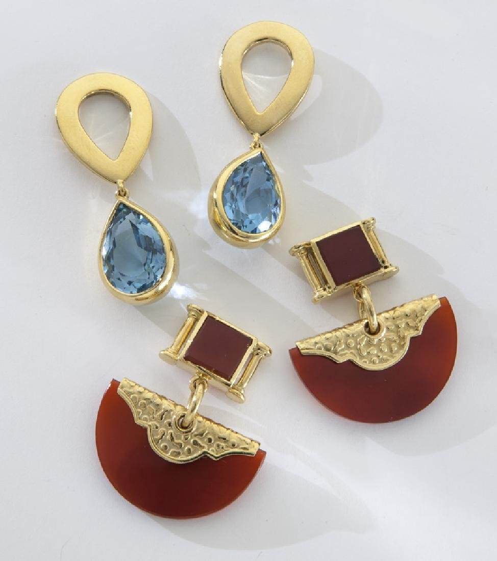 2 Pairs 18K gold earrings, including: