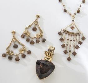 3 Pcs. 14/18K gold and Rio Grande citrine jewelry,